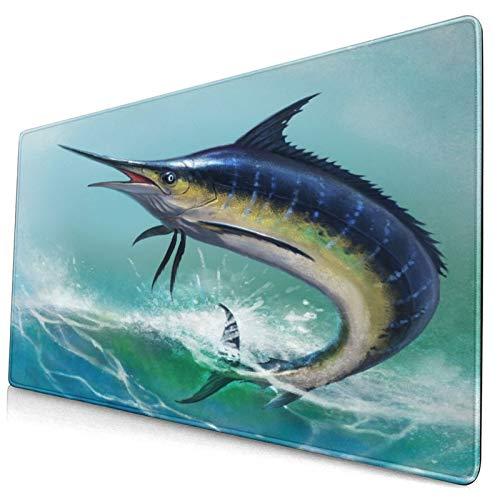 Bonita alfombrilla de ratón,pez marlin azul en el océano,alfombrilla rectangular de goma antideslizante para escritorio,computadora portátil,alfombrilla de escritorio para jugadores,15.8 'x29.