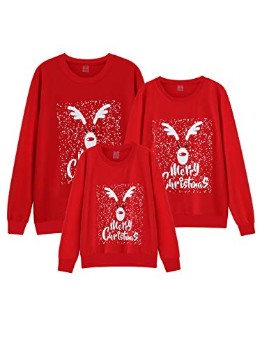VENTELAN Family Matching Christmas Sweatshirt Xmas Funny Pullover Long Sleeve Sweater Outfits Women Men Kids Top T-shirt