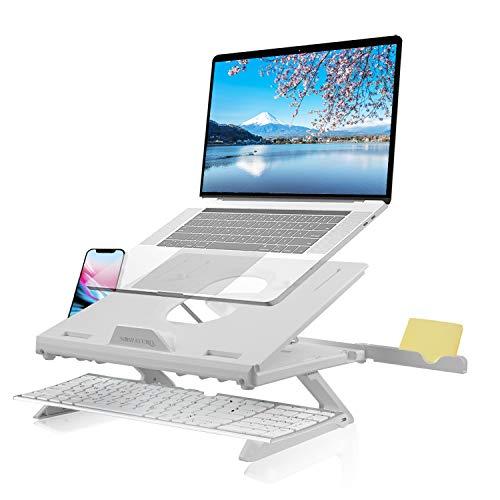 Naspaluro - Soporte para ordenador portátil multiángulo con ventilación, ajustable, compatible con portátiles (10-15,6 pulgadas), MacBook Pro/Air, Samsung, Dell, HP, ASUS Lenovo Matebook, color blanco