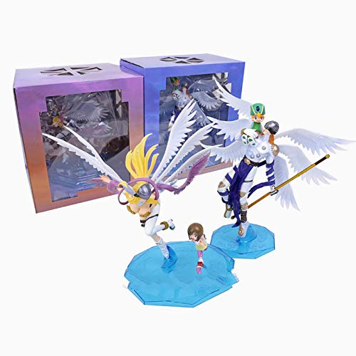 2 Unids 25 Cm Digimon Adventure Digital Monster Takaishi Takeru & Angemon / Yagami Hikari & Angewomon PVC Figura De Colección Modelo De Juguete