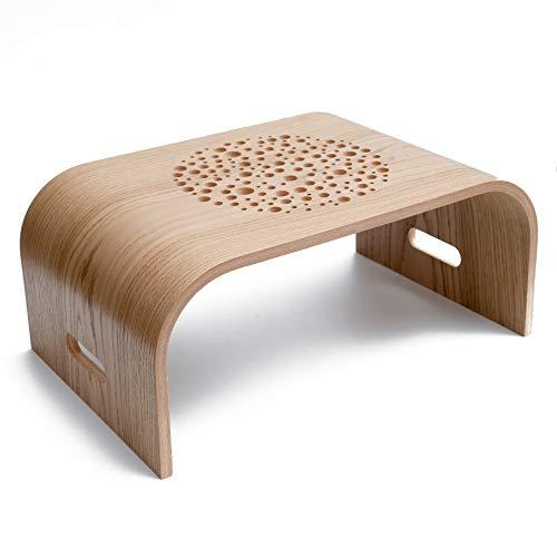 Tragbarer Laptoptisch, Mobiler Betttisch aus Holz, Couchtisch, Nachhaltiger Tablet Ständer, Tragbares Laptoptablett, Laptop Ständer für das Arbeiten von zu Hause aus (Oak)