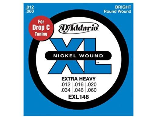 D'Addario Saiten für E-Gitarre |INDUSTRY STANDARD MADE IN USA | EXL148 | vernickelter Stahl | Extra Heavy (12-60) | für C Stimmung