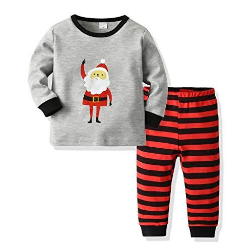 Ensemble de Pyjamas de Noël pour Enfants garçons Filles Ensemble de Santa Claus Elk imprimé Tops + Pantalon Long à Rayures 2 pièces(Gris,1-2 Années)