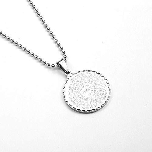 Gepersonaliseerde accessoires, halskettingen, roestvrij staal van de ringen gouden munt hanger ketting religieuze christelijke geschriften sieraden, Thumby ZILVER