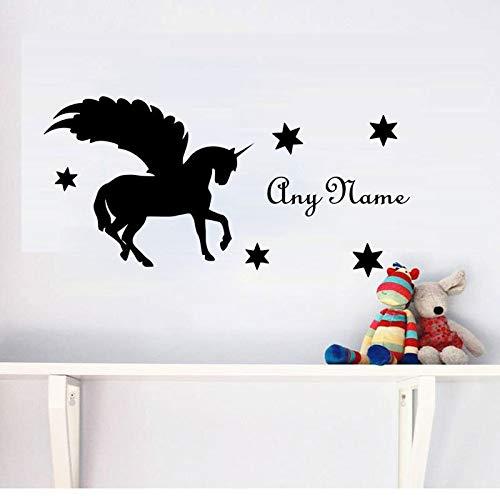 Sanzangtang naamplaatje, paard met vleugels, voor kinderen, kamer, decoratie, schattig, vinyl, kunstenaarsdecoratie, jongens, meisjes, zelfklevend