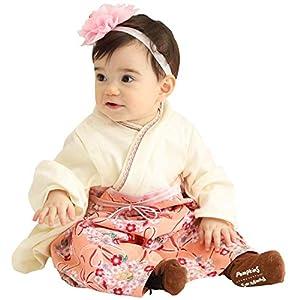Sweet Mommy 袴 ロンパース ベビー 着物 カバーオール 日本製和柄ちりめん オーガニックコットン身頃 アプリコット 50-70