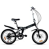 YANXIH Bicicletta Pieghevole Bici Pieghevole da 20 Pollici A 6 velocità con Doppio Freno Mountain Bike Antiurto + LED Batteria + Borsa da Sella + Bike Bell + Blocco Bici + Pompa (Color : T2)