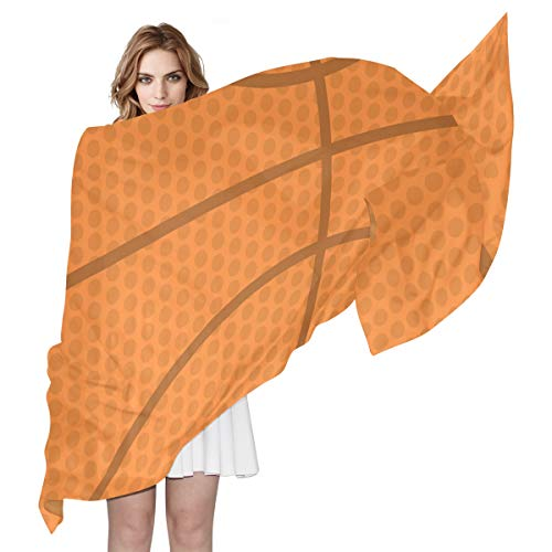 LORONA Bufanda de baloncesto abstracta para mujer, con sensación sedosa, bufandas largas, chal ligero