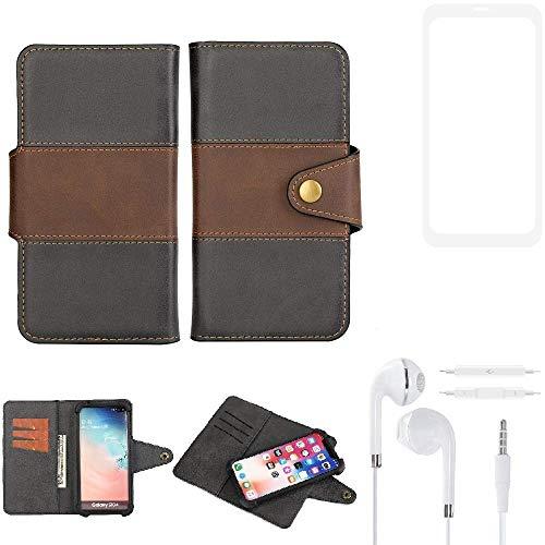 K-S-Trade® Handy-Hülle Schutz-Hülle Bookstyle Wallet-Case Für -Vestel V3 5580 Dual-SIM- + Earphones Bumper R&umschutz Schwarz-braun 1x