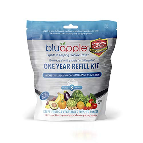 Bluapple 1 Year Carbon Refill Kit Includes 8 Packets For 2 Bluapples With Carbon - For 1 Full Year To Keep Produce Fresh Longer And Help Absorb Unwanted Odors