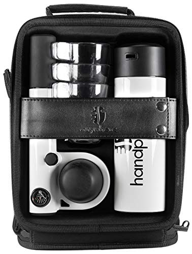 Handpresso 48301 Pump Set weiß - tragbare, manuelle Espressomaschine für ESE-Pads oder gemahlenen Kaffee
