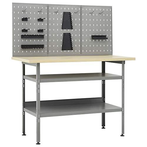 Tidyard Werkbank mit 3 Wandtafeln, Arbeitstisch, Arbeitsstation, Aufbewahrung von Werkzeugen, Garage, Werkstatt, höhenverstellbare Füße Grau