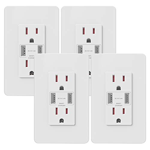 UCOMEN 3.4A USB Outlet, USB Wall Outlet, High Speed USB Charger 15A TR Receptacle Outlet White, 4pcs