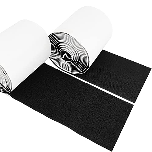 4 Inch Sticky Back Hook and Loop Fasteners with Sticky Glue Nylon Fabric, Self-Adhesive Strips Set Black, 2.73 Yards(8.2 feet) by XBDZR