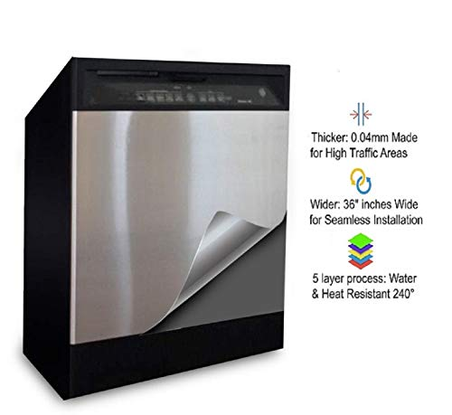 EZ FAUX DECOR Dishwasher Stainless Steel Peel and Stick Self Adhesive Appliance Cover Film for Panel 36' x 26' Brushed CHROME SATIN Finish Thick Waterproof Not Contact Paper or Paint!!