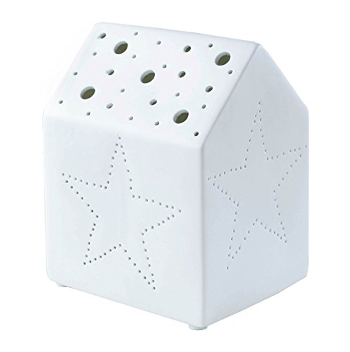 Boltze Deko Haus Tisch Lampe Lichthaus aus Porzellan Nachttisch Leuchte