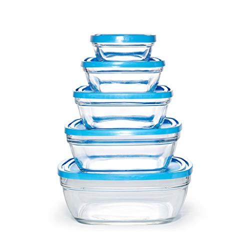 Keuken Opbergdoos voedsel opslag container - 5 Sets Koelkast Crisper - Magnetron Oven Verwarming - Glazen schaal met deksel Bevroren Voedsel - Makkelijk schoon te maken