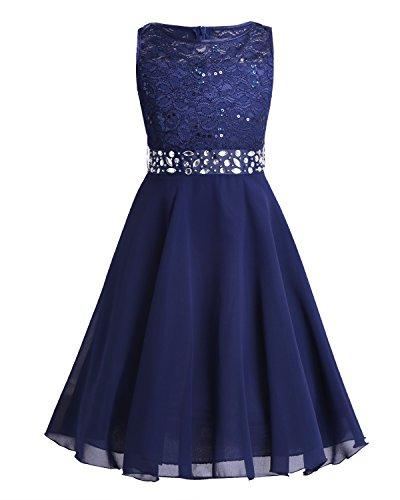 TiaoBug Festlich Mädchen Kleid für Kinder Prinzessin Spitzen Kleider Hochzeit Blumenmädchenkleid 92 104 116 128 140 152 164 Marineblau 164