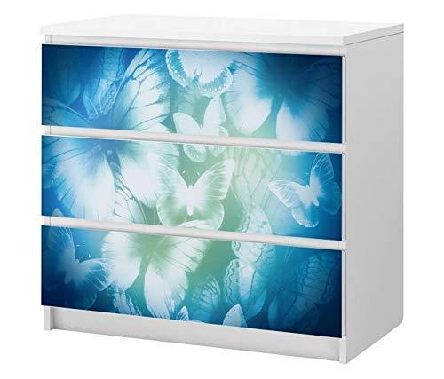 Set Möbelaufkleber für Ikea Kommode MALM 3 Fächer/Schubladen Blau Schmetterlinge abstrakte Kunst Kat2 Vintage Blumen ML3 Aufkleber Möbelfolie sticker (Ohne Möbel) Folie 25B2501