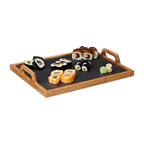 Relaxdays Serviertablett, Schieferplatte, 2 Henkel, Schiefer, Deko Accessoire, Küche, H x B x T: 6 x 40,5 x 32 cm, natur