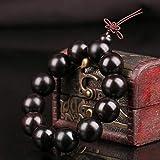 TWCAM Lederarmband männer Edelstahl Armband- Ebenholz Armband 108 Buddha Perlen Violet Tan Armband Unisex, 6Mm * 108 Perlen