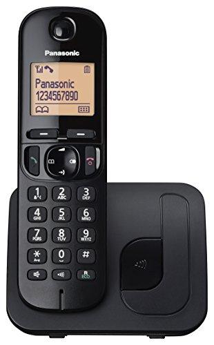 Panasonic KX-TGC210 Teléfono fijo inalámbrico, LCD, Identificador de llamadas, Agenda de 50 números, Tecla de navegación, Modo ECO, Reducción de ruido, Negro