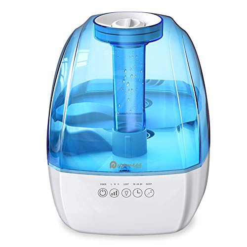 Cool Mist Humidifier - 4.5L Ultrasonic Humidifiers for Bedroom, Quiet Humidifier Large Room with 3 Mist Levels, Sleep Mode, Smart Timer, Night Light, All Night Moisture Humidifier for Baby Home Office