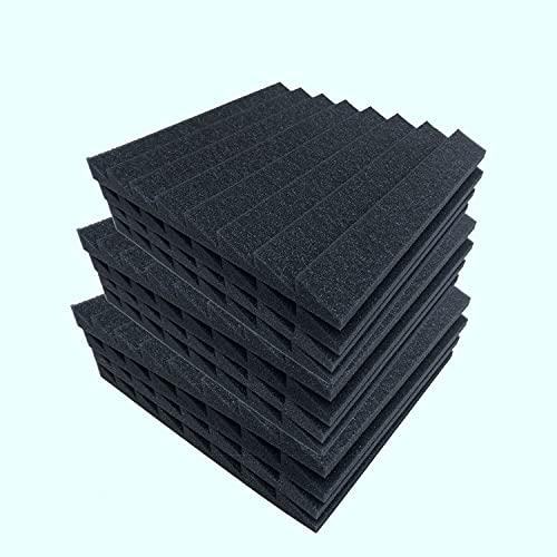 OVBBESS Paquete de 12 Trapezoidales de Triple Punta de Espuma Insonorizada Tratamiento de Acolchado una Prueba de Sonido para Aislamiento de Graves de Eco 12X12X1 Pulgadas