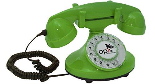 OPIS FunkyFon cable: 1920 draaischijf retro telefoon in de bochtige stijl van de jaren 20 met moderne elektronische bel (groen)