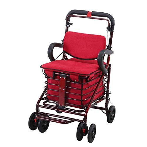 Carritos de la compra Las personas mayores compran comida scooter puede sentarse y empujar el carrito de la compra plegable al aire libre andador con asiento carrito de compras de cuatro ruedas con