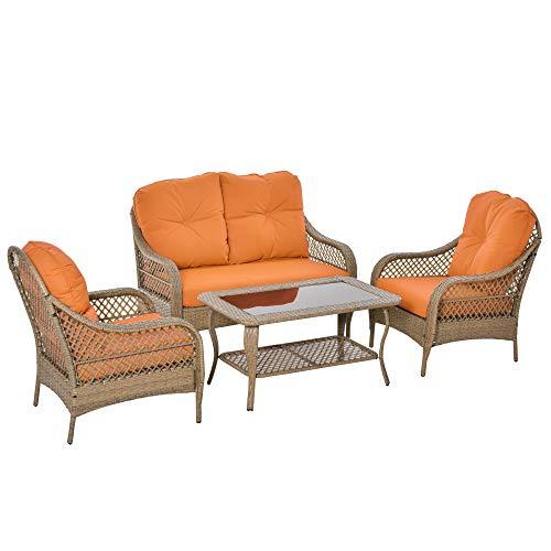 Outsunny Set Mobili da Giardino in Rattan PE con 2 Poltrone Divano a 2 Posti e Tavolo e Cuscini, Colore Khaki e Arancione
