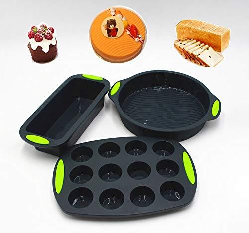 SGR SHOPS 3-teiliges professionelles Antihaft-Silikon-Kuchenform-Set Silikon-Backformen, einschließlich runder Kuchenform Brotform zum Backen von Bananenbrot-Laib-Pfund-Kuchen