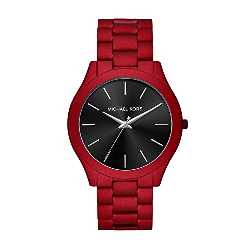 Michael Kors Men's Slim Runway Quartz Watch with Stainless Steel Strap, Red, 22 (Model: MK8712)