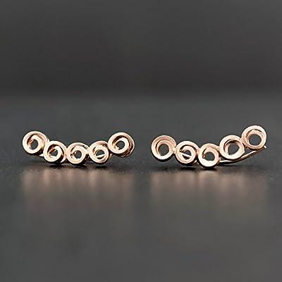 Boucles d'oreilles grimpantes en argent sterling 925, fait à la main par Emmanuela, boucles d'oreilles grimpeur minimaliste, boucles d'oreilles hypoallergiques bijoux uniques et insolites