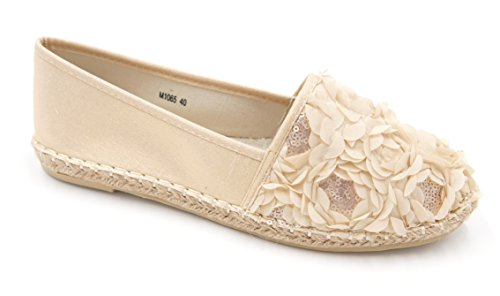 Trends für Dich Damen Blumen Glitzer Pailletten Schuhe Espadrille Ballerina Slipper Halbschuhe (8479) (38, Creme gold)