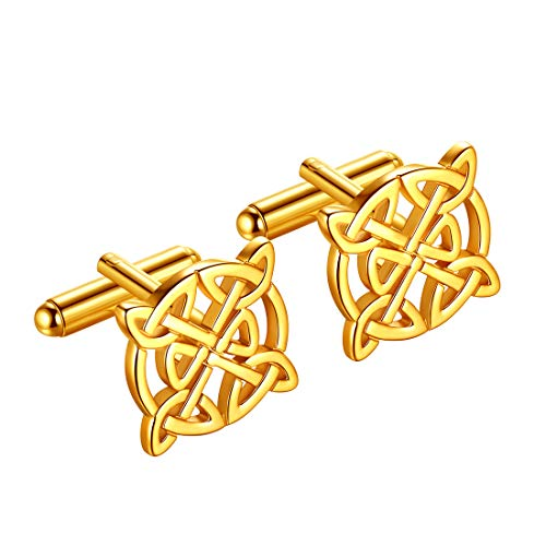 beautlace Mens Celtic Knot Cufflinks 18K Gold Plated Good Luck Triquetra Vintage Cuff Links Irish Jewelry Gifts for Men and Women KC0003Y