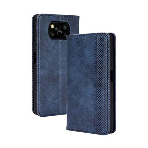 JIAFEI Hülle für Xiaomi Poco X3 PRO / X3 NFC, Premium PU + TPU Retro Lederhülle Stoßfest Brieftasche Schutzhülle, Blau