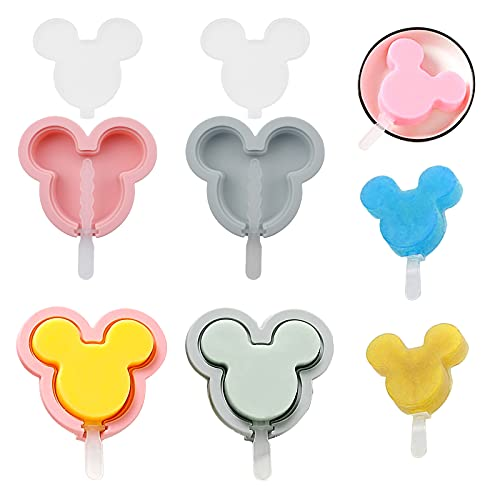 4Pcs Cakesicle Molds Silicone, Ice Cream Mold, Cakesicles Silicone Mold, Cake Pop Mold for Kids and Adults, Mickey Head Shape Popsicle Maker for DIY Ice Cream (Pink and Gray)