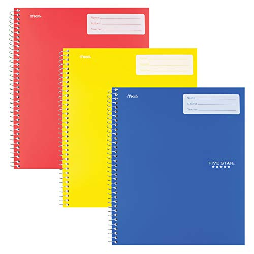 """Five Star Interactive Notetaking, 1 Subject, Wide Ruled Spiral Notebooks, 100 Sheets, 11"""" x 8-1/2"""", 3 Pack (38599)"""