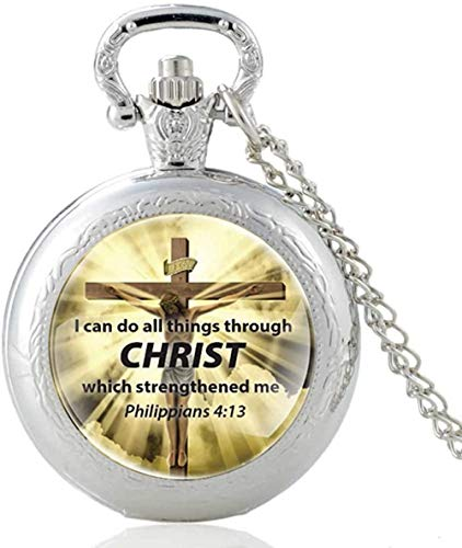 Christ Cross Puedo hacer todo a través del reloj de bolsillo de cuarzo único vintage para hombres, mujeres, collar colgante, reloj de horas