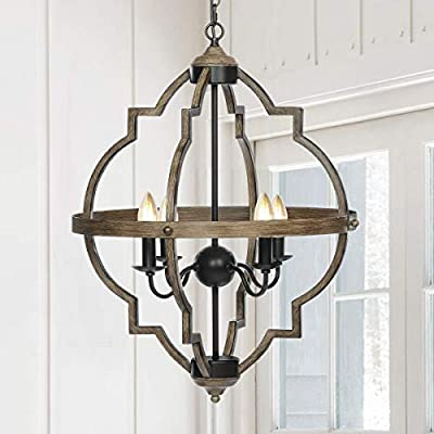 KingSo Pendant Lighting Rustic Chandeliers, Metal Ceiling Light Fixture with Oil Rubbed Bronze Finish Industrial Hanging Lights Height Adjustable Farmhouse Chandelier Kitchen Island Lighting