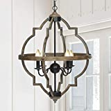 KingSo Pendant Light 4 Light Rustic Metal Chandelier 27.5'' Oil Rubbed Bronze Finish Wood Texture Industrial Ceiling Hanging Light Fixture for Indoor Kitchen Island Dining Living Room Farmhouse