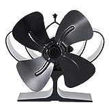 Ventilador de estufa, tamaño pequeño, ventilador de potencia térmica de 4 cuchillas, para quemador de madera/leña/chimenea.
