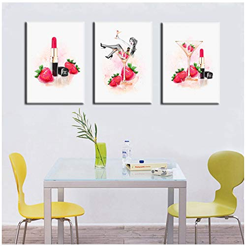 Canvas Painting Abstract Aquarel Champagne Lipstick Girl Combinatie Digitale Bedrukte Wall Art Picture Home Decor 60x80cm (23,6