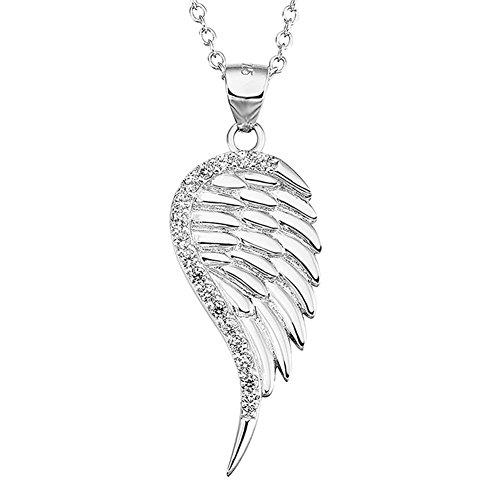 S925 argent sterling Touch Of Charm ciel aile d'ange Collier avec pendentif cristaux goudronnées, Boxed Gift