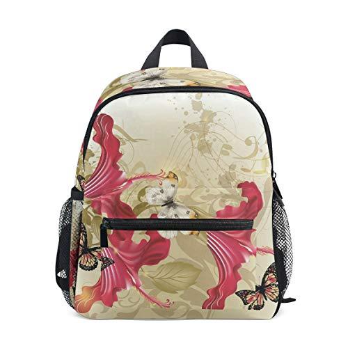 TIZORAX Rucksack mit Retro-Blumen und Schmetterlingen, leicht, für Reisen, Schule, für Jungen und Mädchen