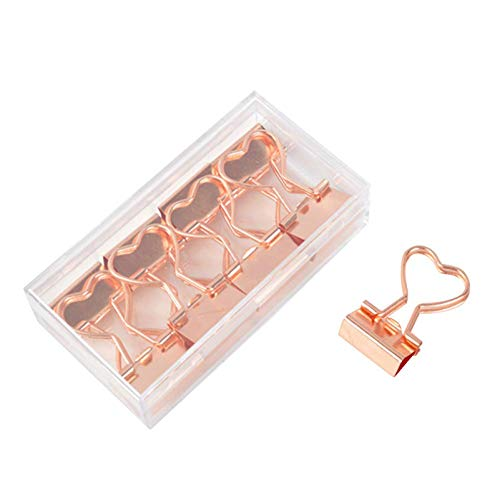 Rose Gold Metal Binder Clips with Heart Shaped Handle 07419mm foldback Clips in Acrylic Crystal Box Invoice Bill Clip Decorative Paper Clips Notes Letter for Office Home School 12Pcs