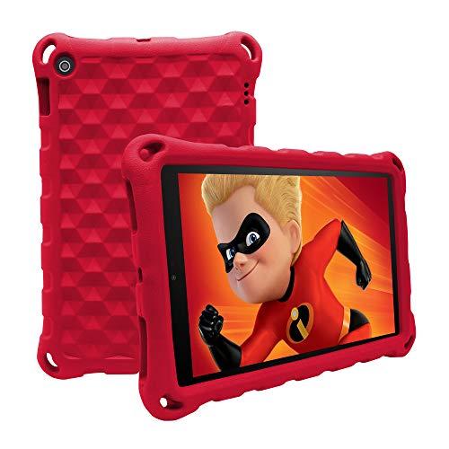 Antike a prueba de golpes ligero mango para niños funda para 7 tabletas (compatible con 7ª generación, versión 2017/9ª generación, lanzamiento de 2019) (rojo)