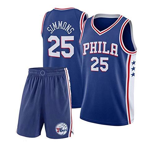 CHXY NBA Herren Basketball Trikot # 25 - NBA Philadelphia 76ers, Herren Tennis Basketball Spieler Trikot Sportanzug Weste Tops Und Shorts,Blue-M