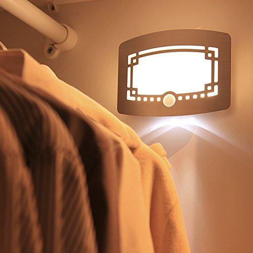 Lamp met bewegingsmelder, led-accu, oplaadbaar, draadloos, werkt op batterijen, nachtlampje, binnenlamp, hal, kast, trap, balkon, badkamer, verlichting (warmwit licht).